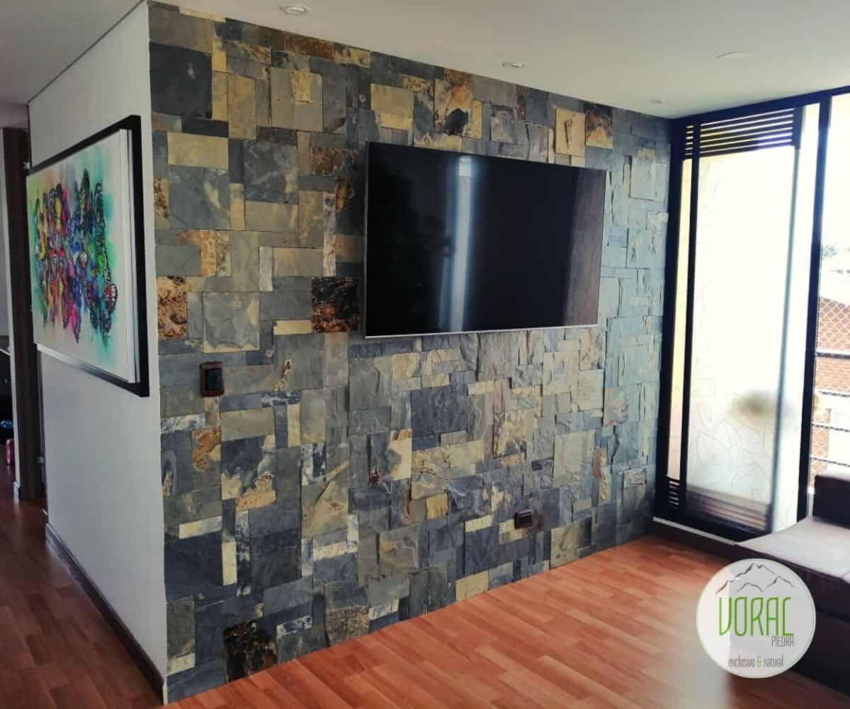 Piedra Pizarra Natural Negro Óxido Mosaico